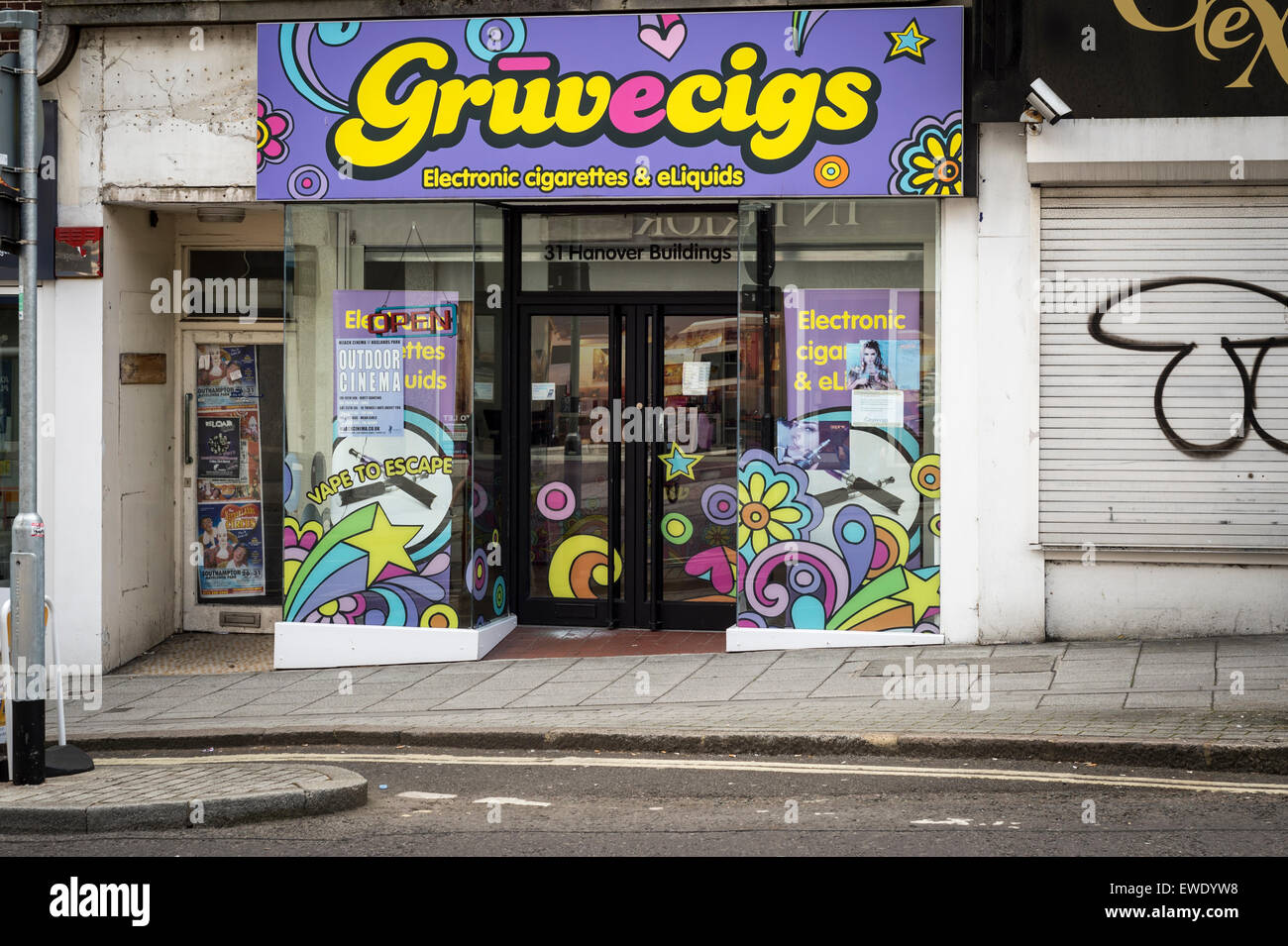 Gruvecigs electronic cigarette and e vapours shop in Southampton UK - Stock Image