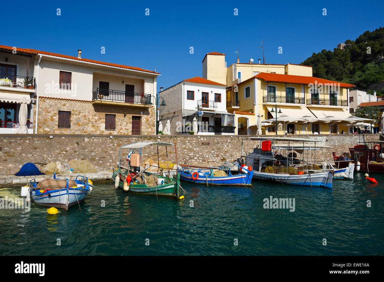 Boats in the harbour of Nafpaktos, Greece - Stock Image