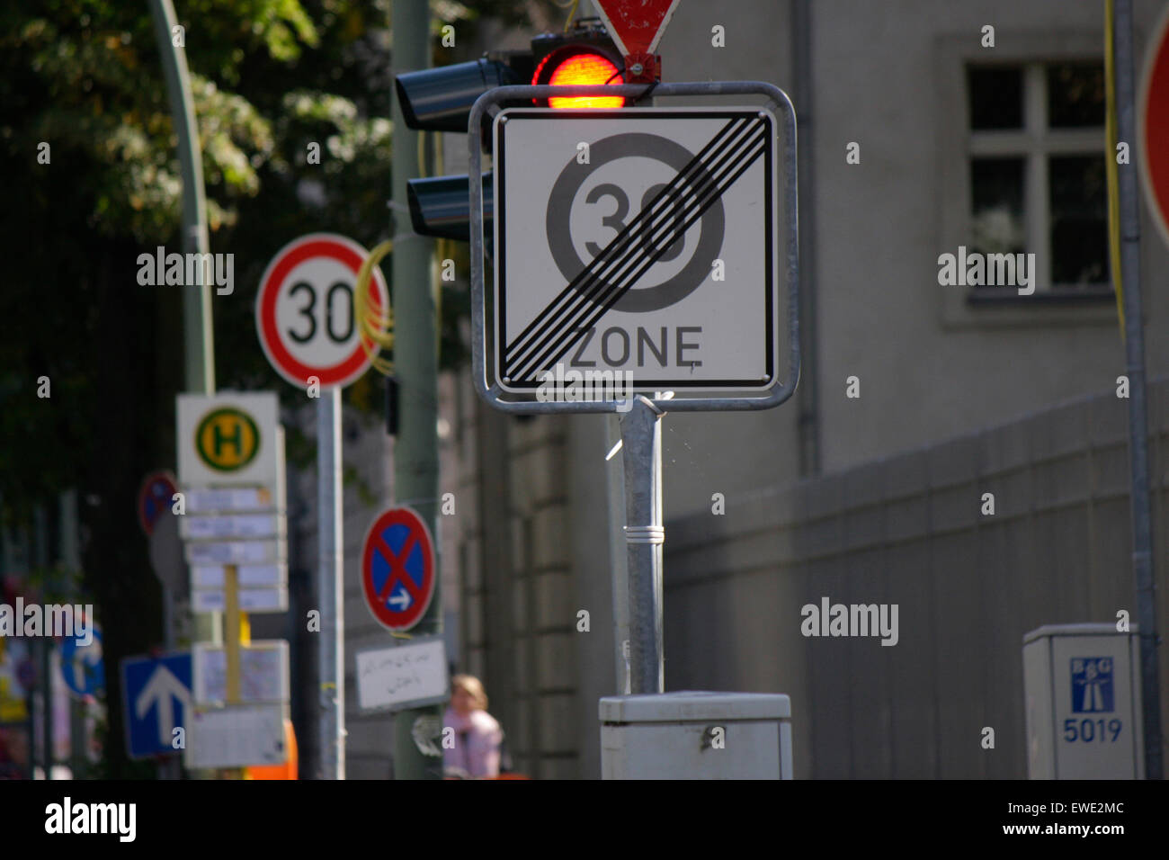 SEPTEMBER 2013 - BERLIN: waste of money in the public sector: contradictory and useless traffic signs in Berlin. Stock Photo