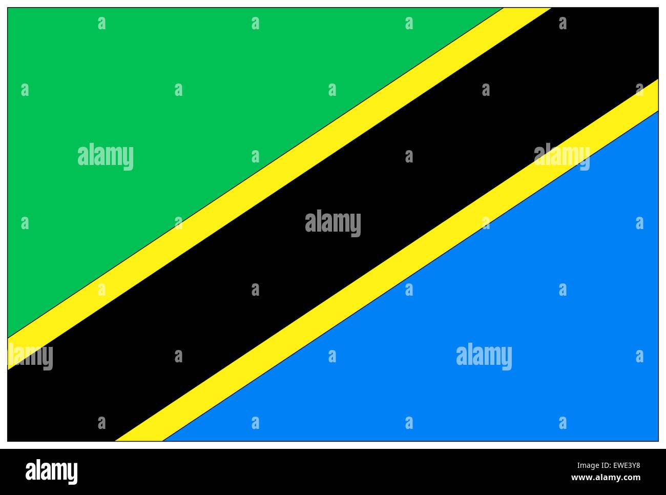 Fahne: Tansania/ flag: Tanzania. - Stock Image