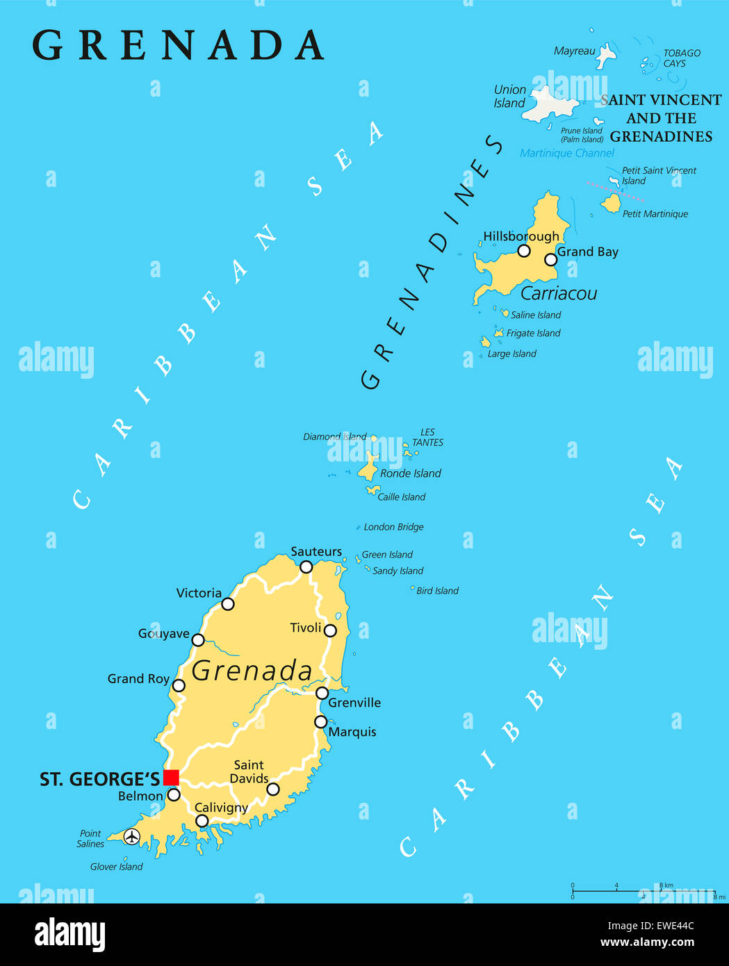 Grenada political map with capital St Georges Island Country part