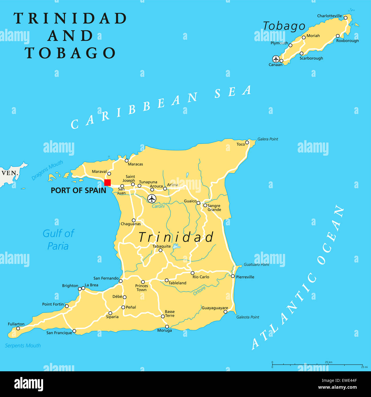 trinidad and tobago political map with capital port of spain twin