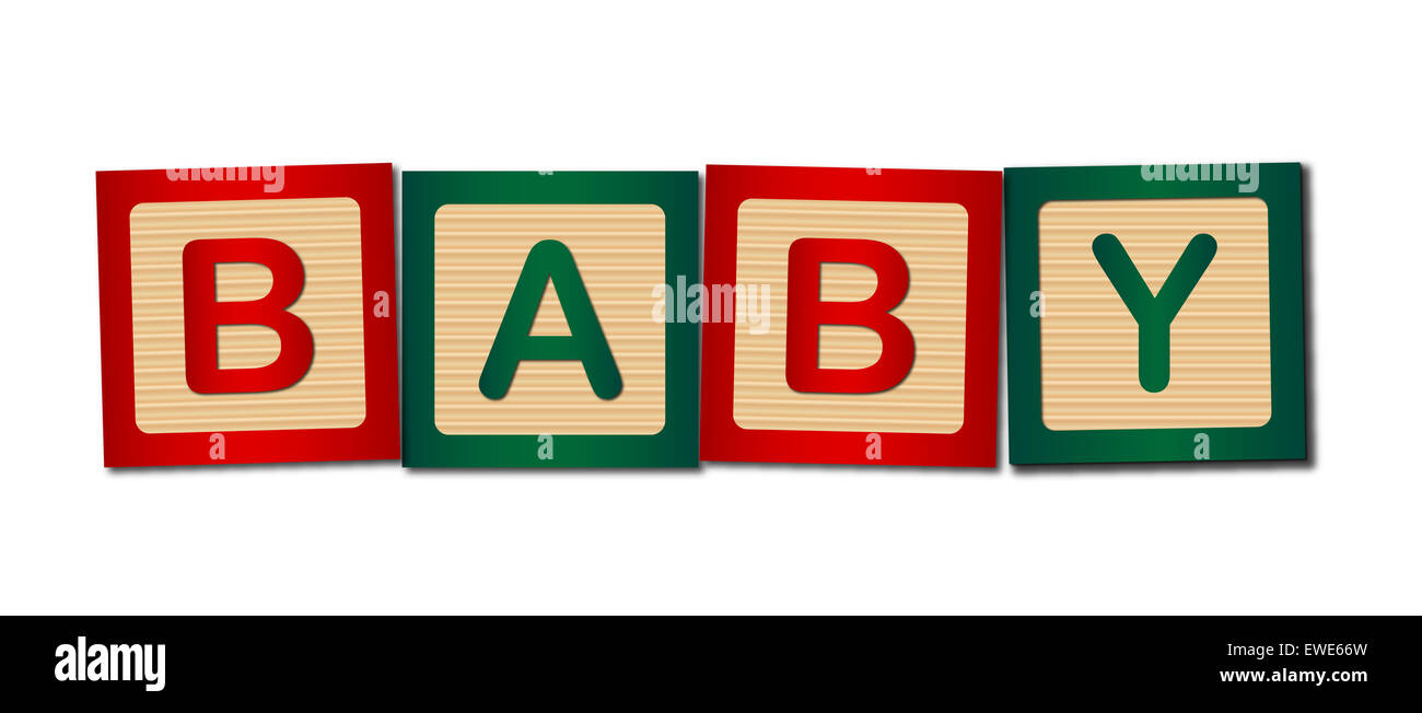 Childs wooden blocks making up the word baby - Stock Image