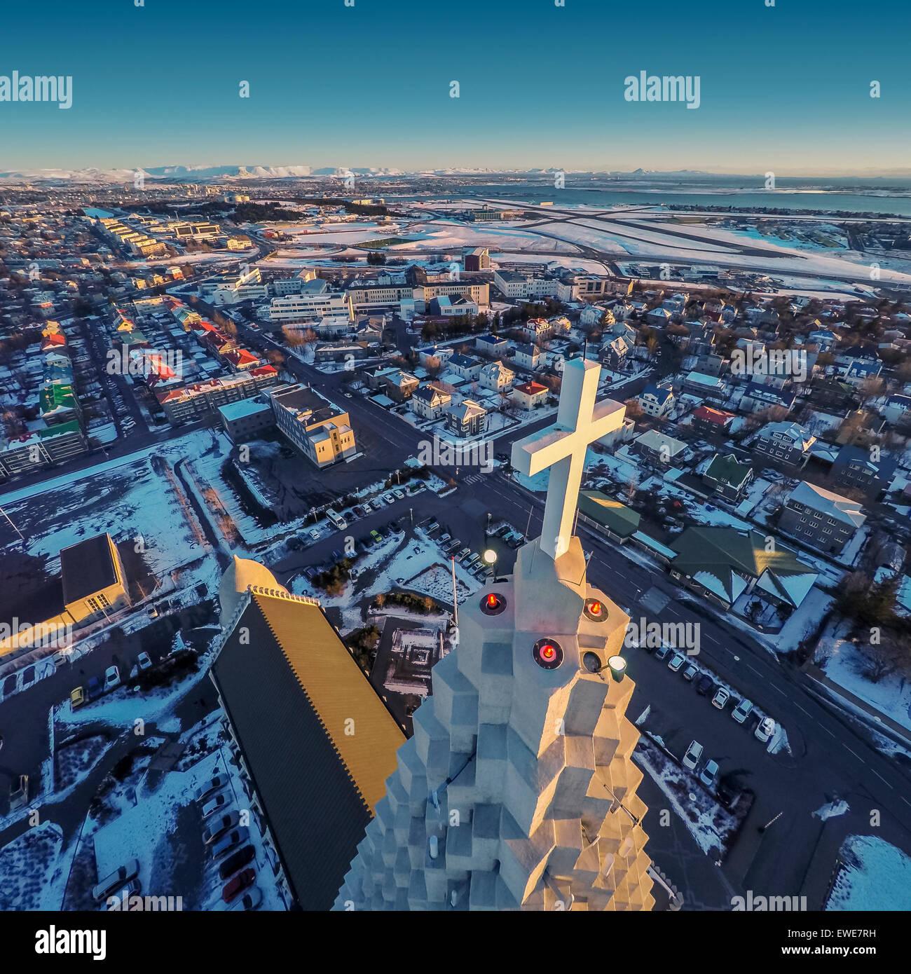 Hallgrimskirkja Church and Reykjavik, image produced using a drone, Reykjavik, Iceland - Stock Image