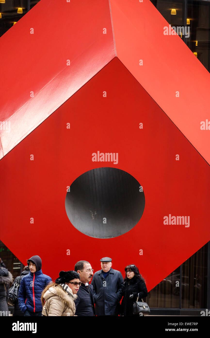 New York City NY NYC Manhattan Lower Financial District Isamu Noguchi artist sculptor Red Cube public art - Stock Image