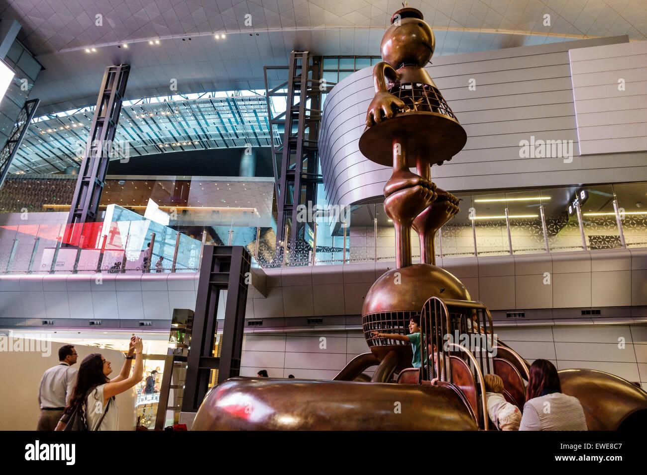 Qatar Doha Hamad International Airport DOH terminal concourse gate area inside interior play area playground children's Stock Photo