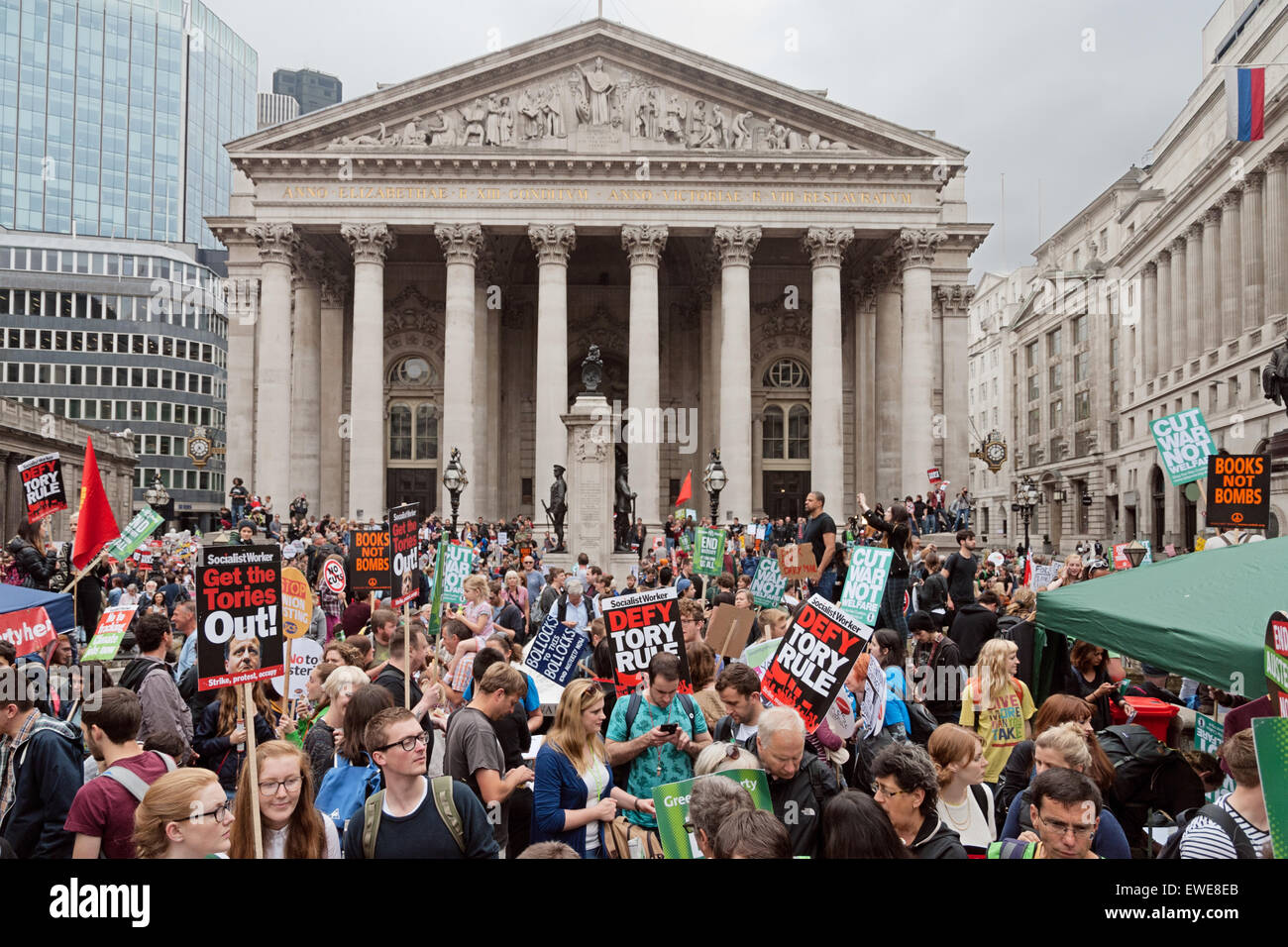 Anti austerity march in London City, June 2015, outside the Bank of England. - Stock Image