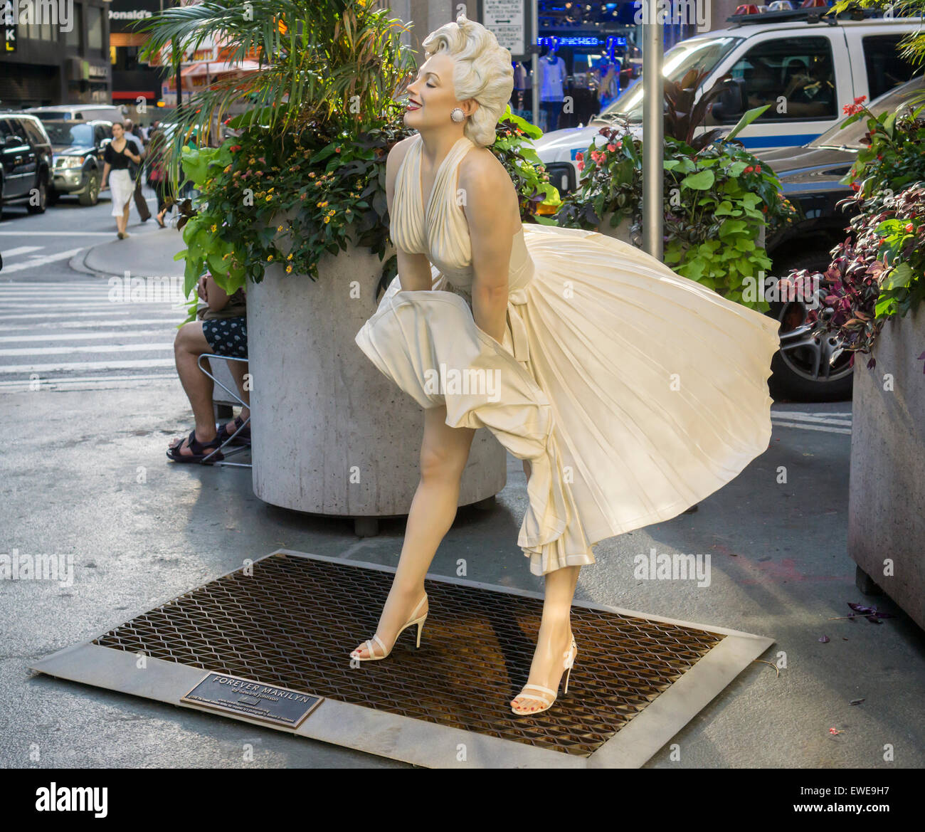 Forever Marilyn by the artist Seward Johnson on the Broadway pedestrian plazas in the Garment District in New York - Stock Image