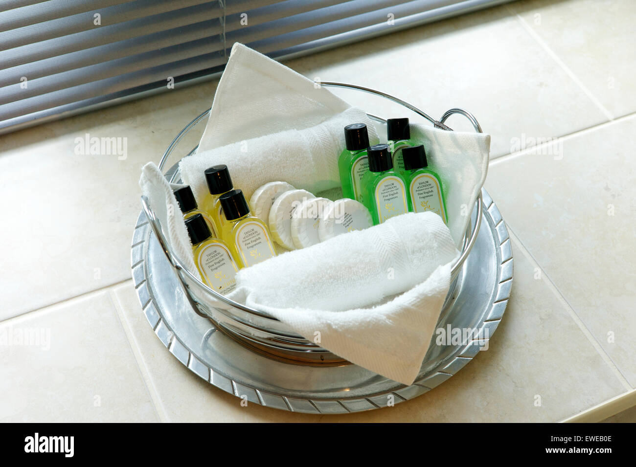 Selection of toiletries in hotel bathroom - Stock Image