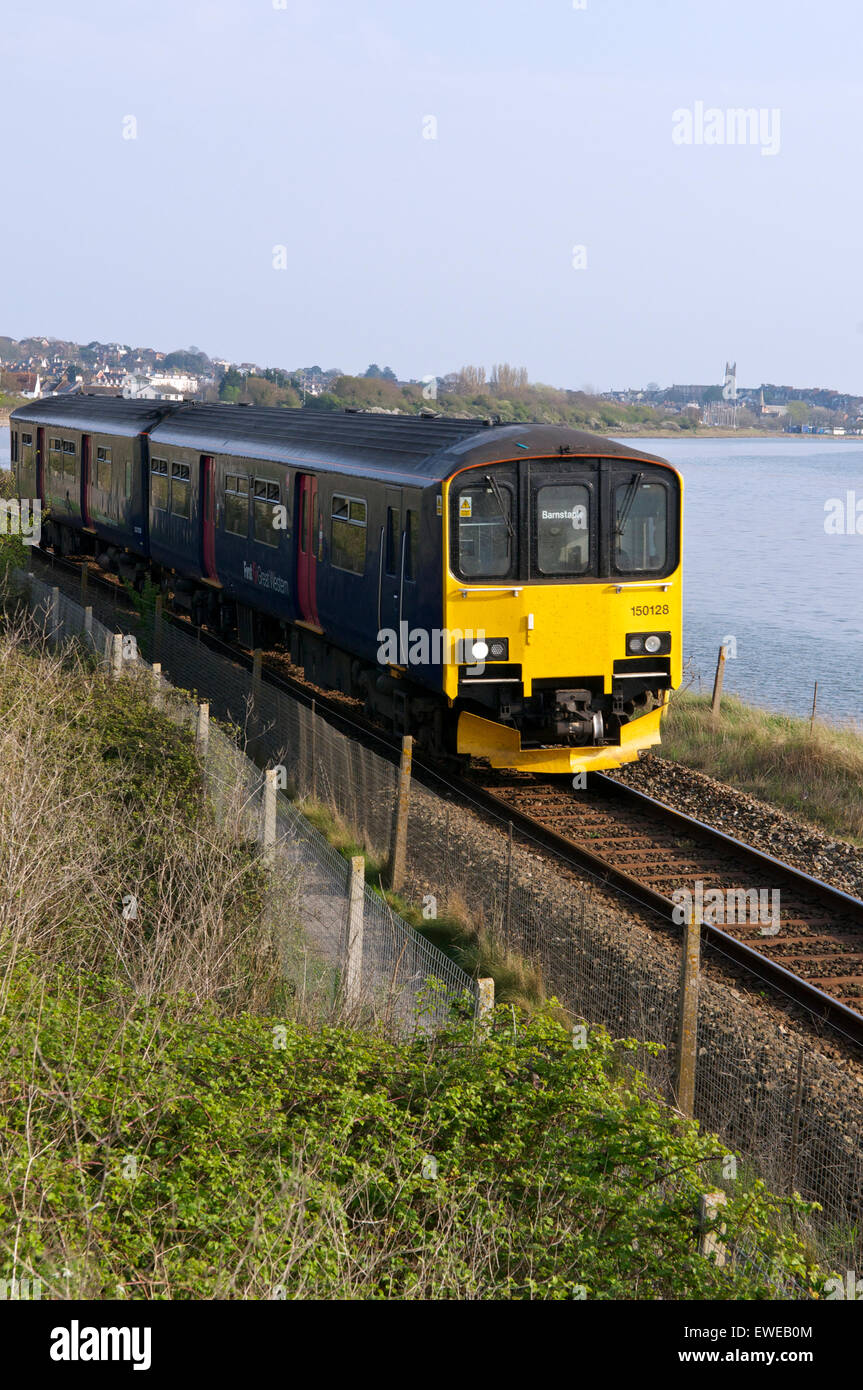 Class 150 Sprinter train on the Avocet Line, near Exmouth, Devon. - Stock Image