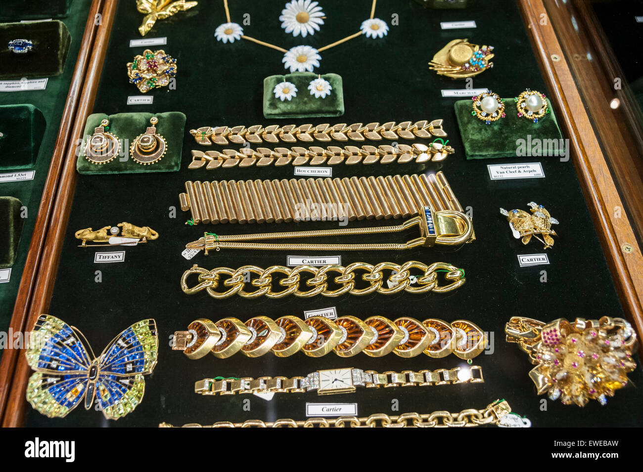 Antique jewellery fair stock photos antique jewellery fair stock london uk 24 june 2015 antique cartier jewellery on display at the aloadofball Choice Image