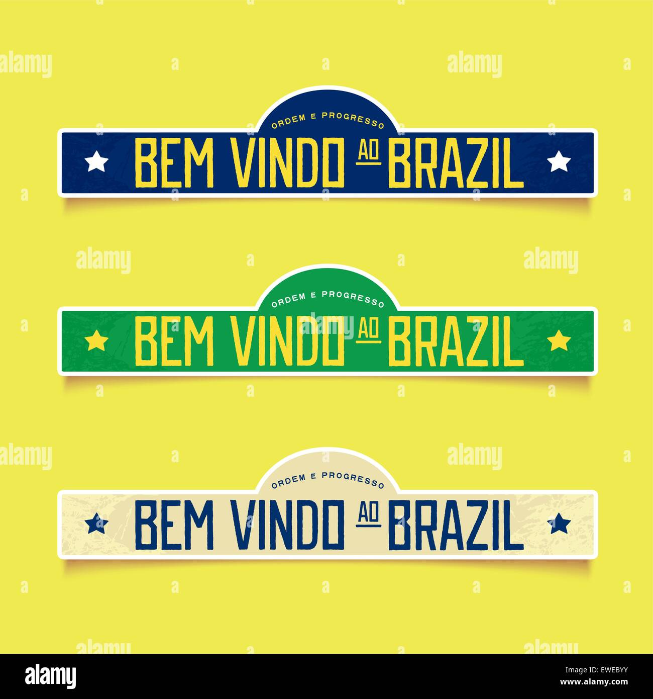 Three retro signboard - Welcome to Brazil  in Portuguese. Vector eps 10 - Stock Vector