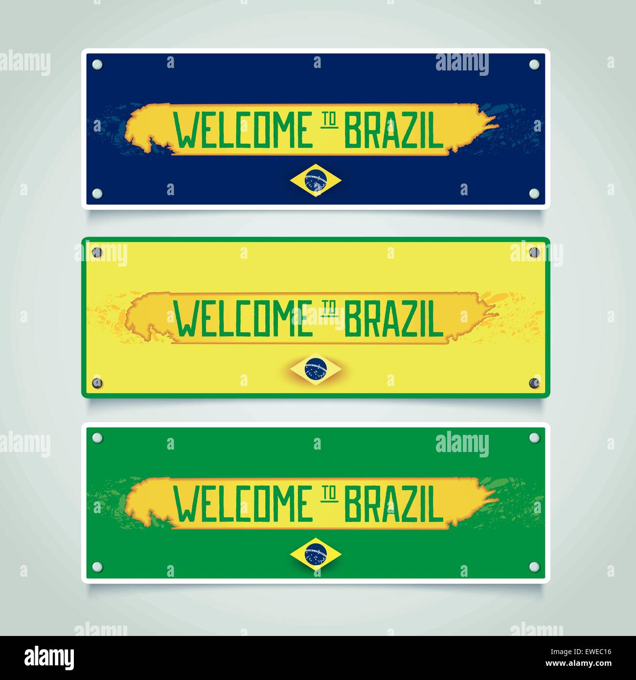 Banner design with worn stripe and inscription - welcome to Brazil. Vector eps 10 - Stock Vector