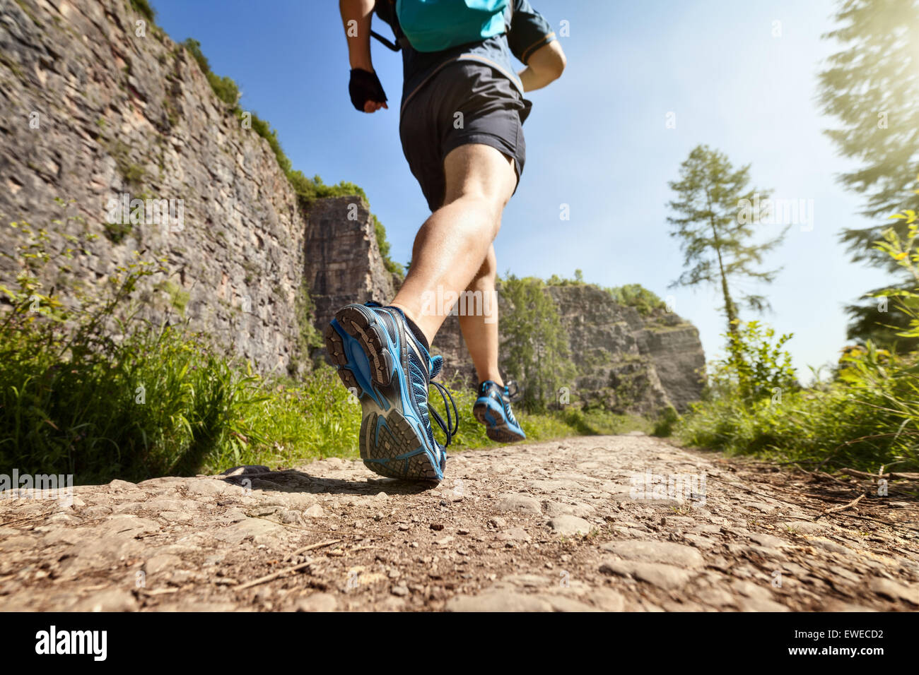 Healthy trail run - Stock Image