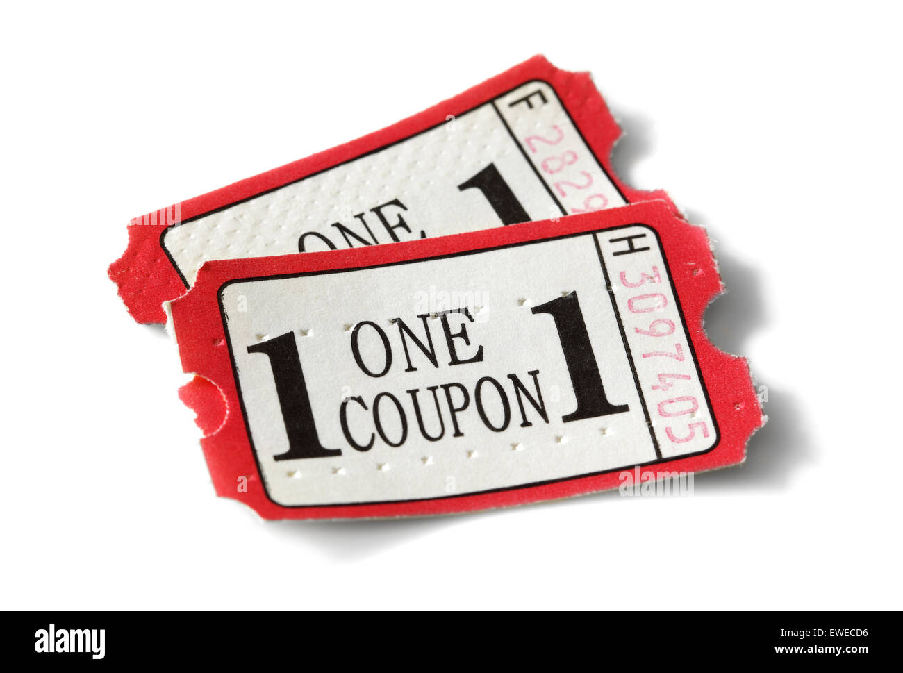 Admission coupon or ticket isolated on white - Stock Image