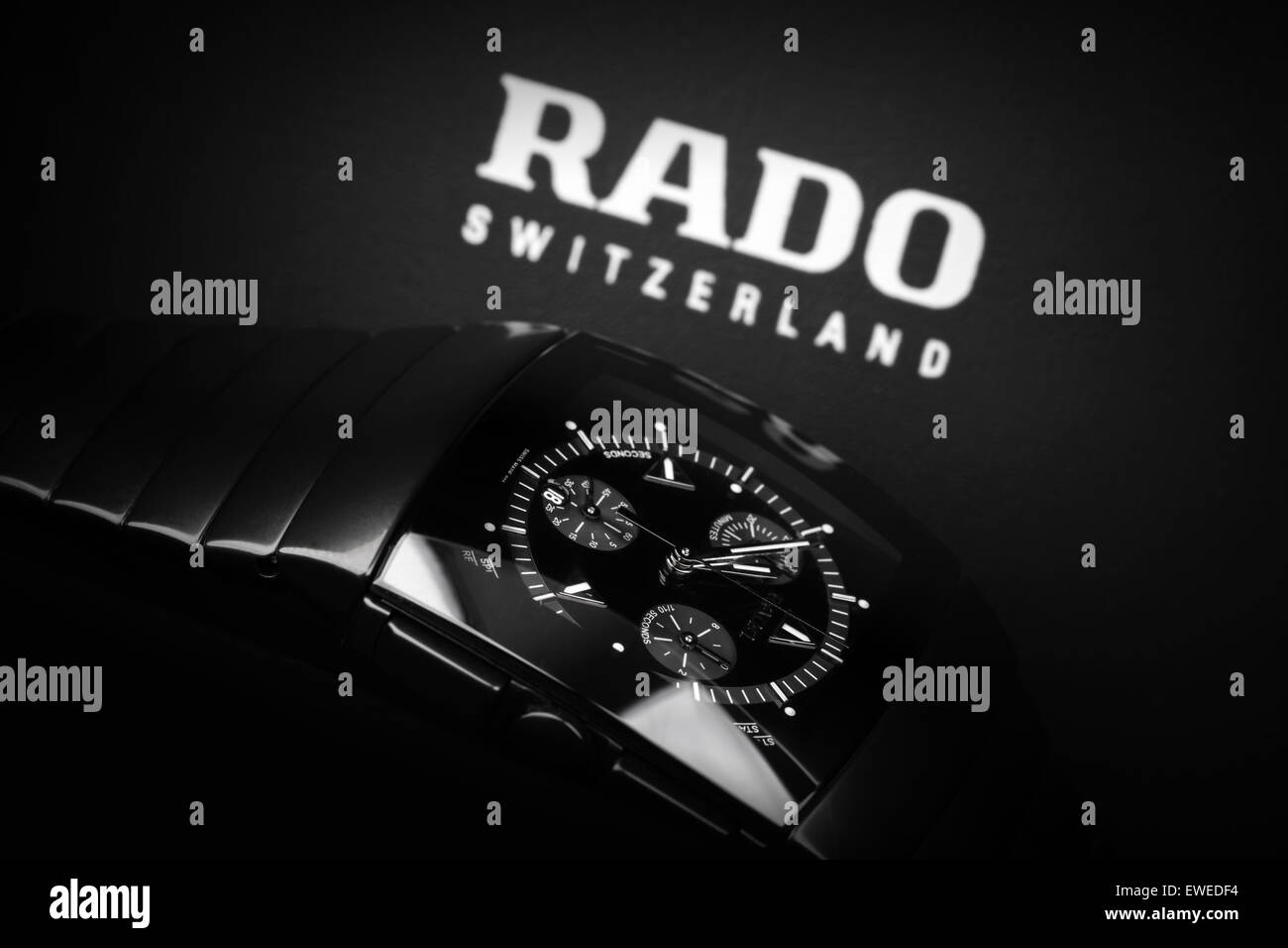 Saint-Petersburg, Russia - June 18, 2015: Rado Sintra Chrono, Mens chronograph watch made of high-tech ceramics - Stock Image