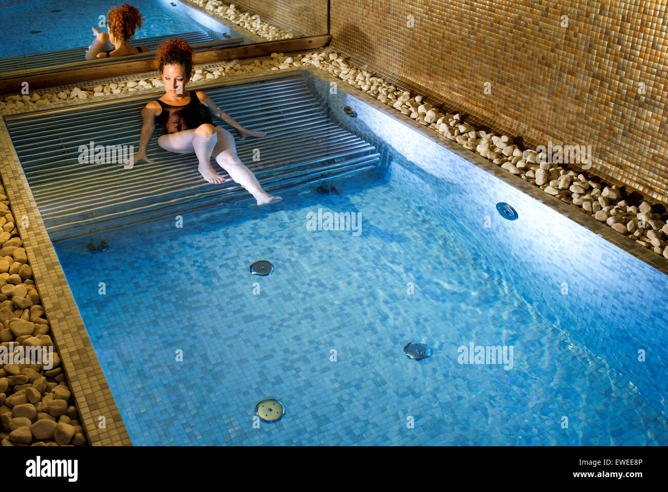 Woman in the jacuzzi. Hotel Es Marès - San Francisco Javier Stock ...