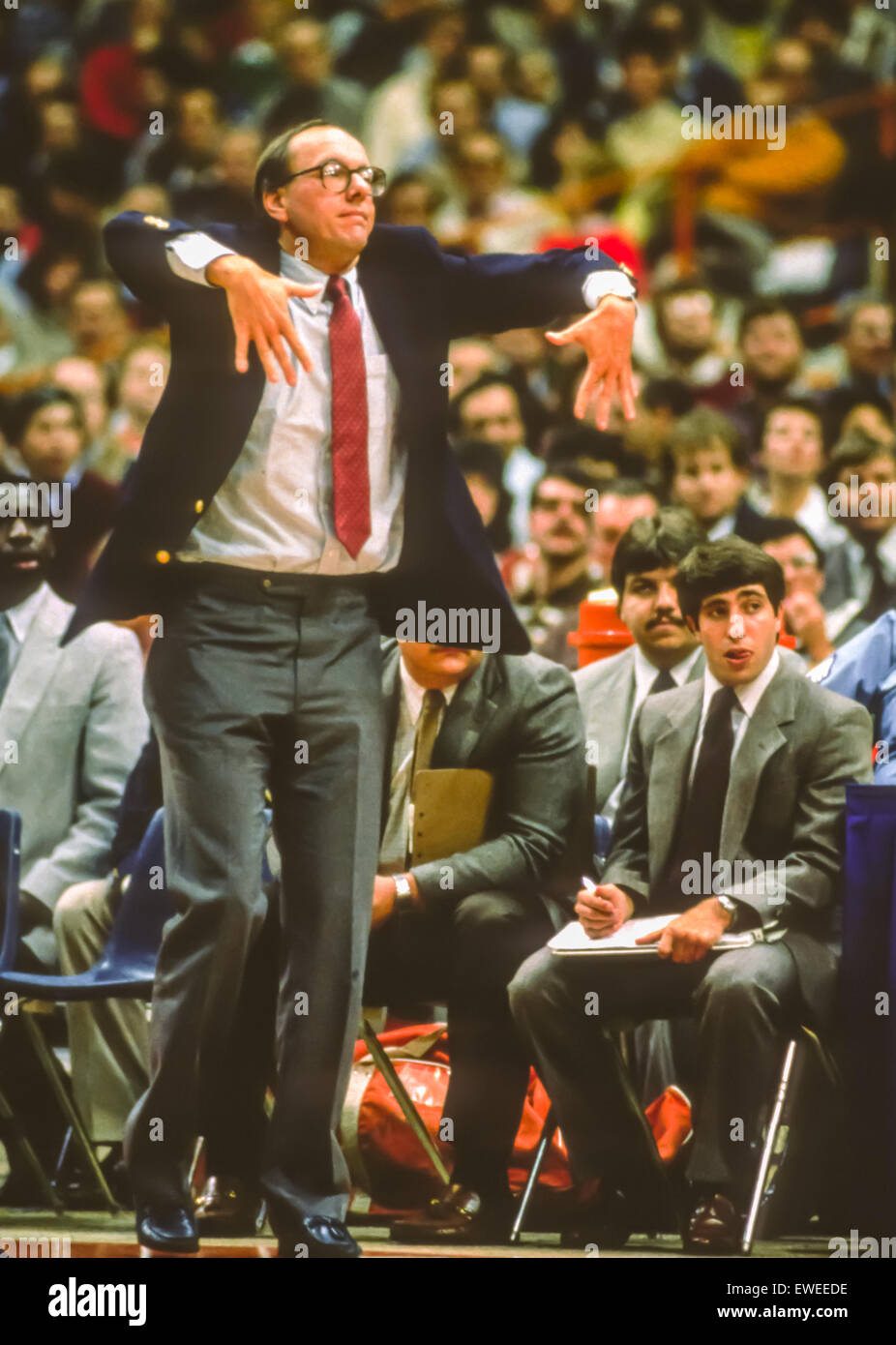 SYRACUSE, NEW YORK, USA - Coach Jim Boeheim gesturing during Syracuse Orangemen college NCAA basketball game in - Stock Image
