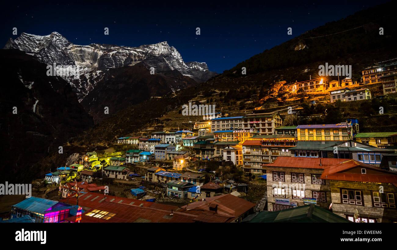 Namche Bazaar looking across to Kongde Ri (6187m), Khumbu region, Nepal. - Stock Image