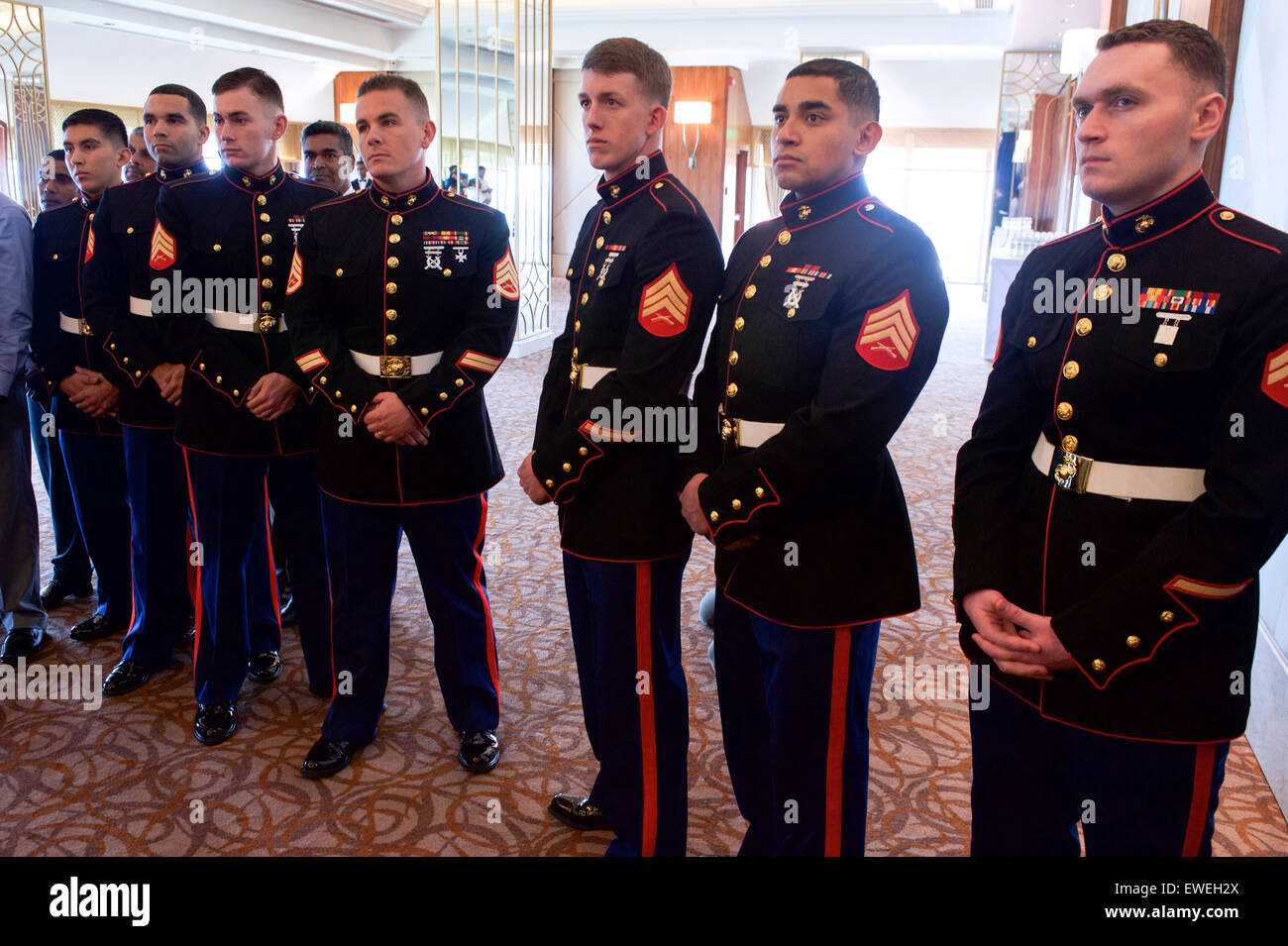members of the marine security guard detachment watch us secretary of state john kerry as he addressed employees and family members from us embassy sri