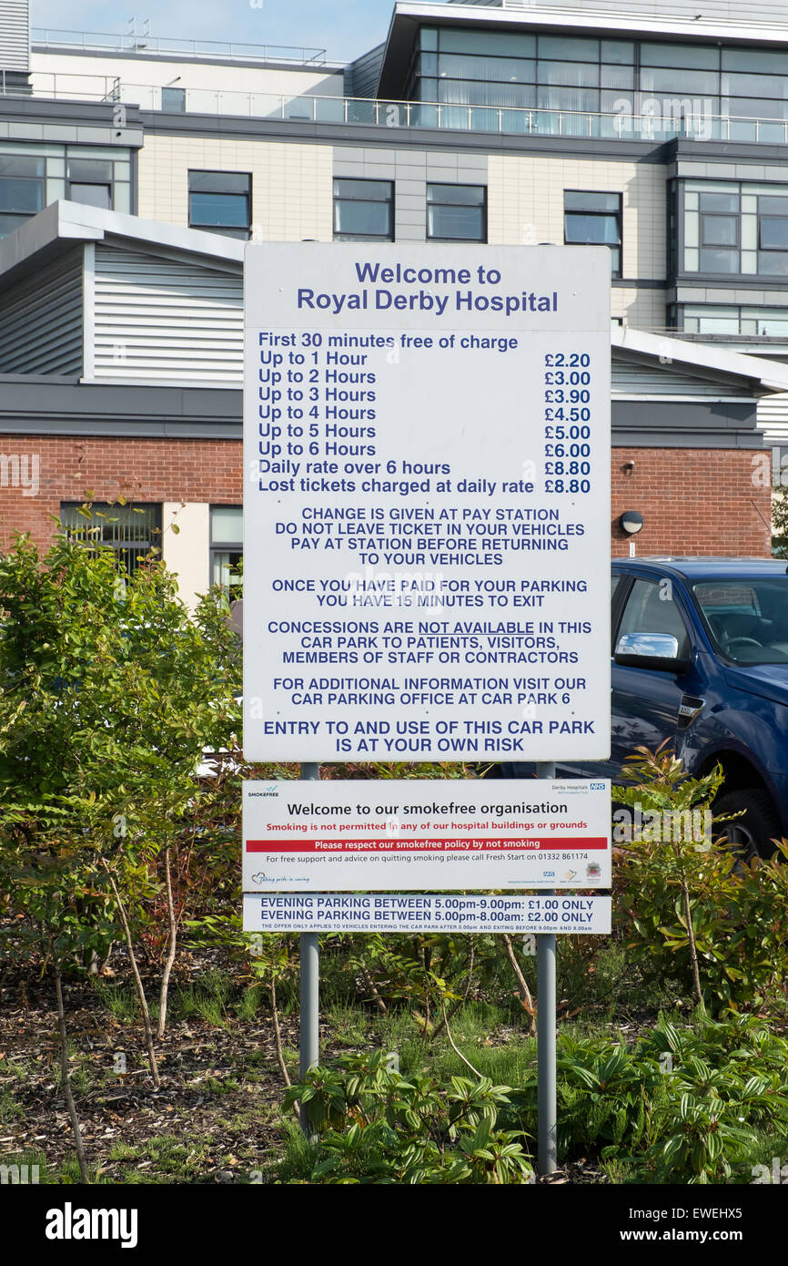 Sign displaying parking charges, Royal Derby Hospital - Stock Image