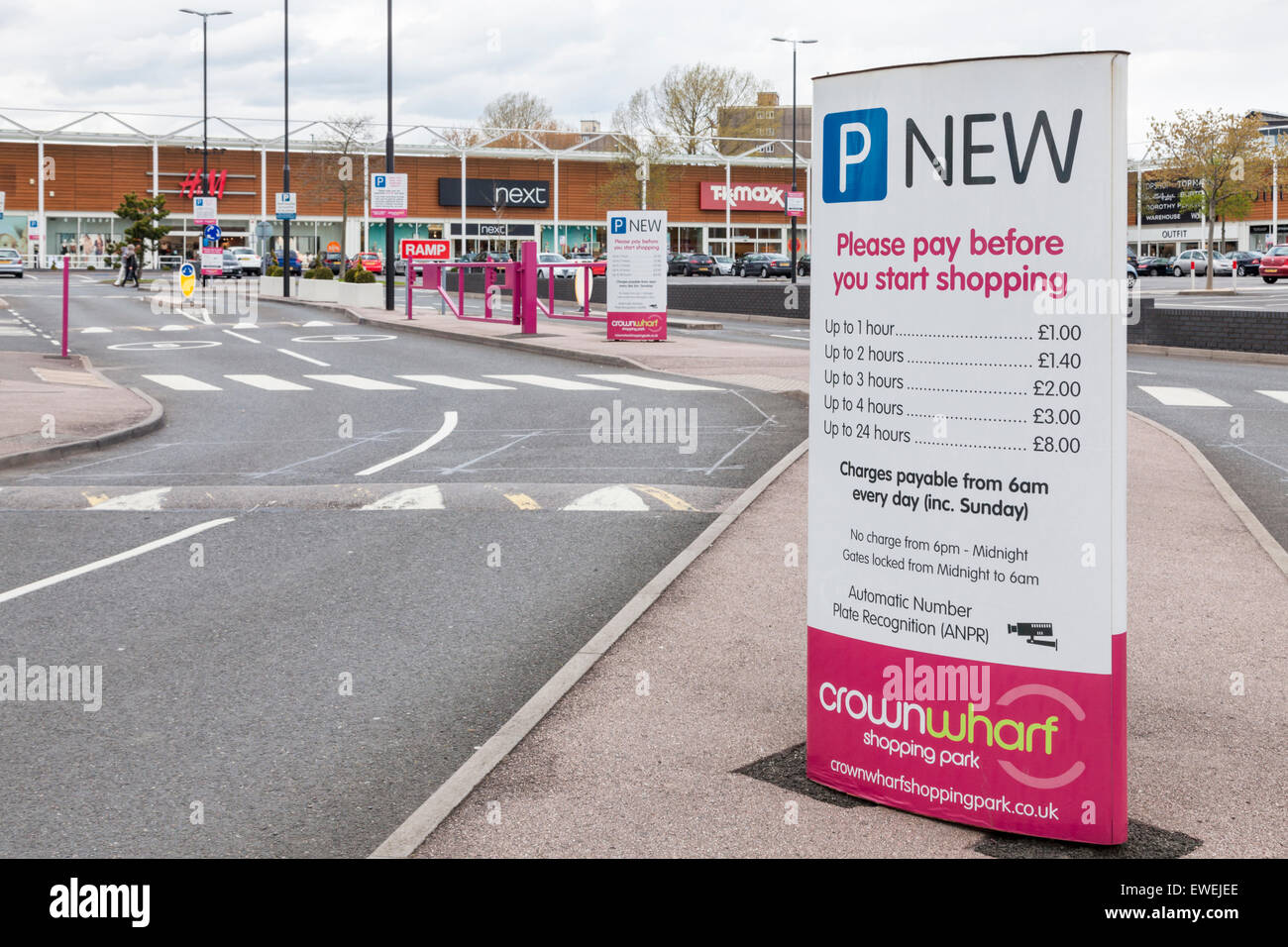 Parking charges sign at Crown Wharf Shopping Park, Walsall, West Midlands, England, UK - Stock Image