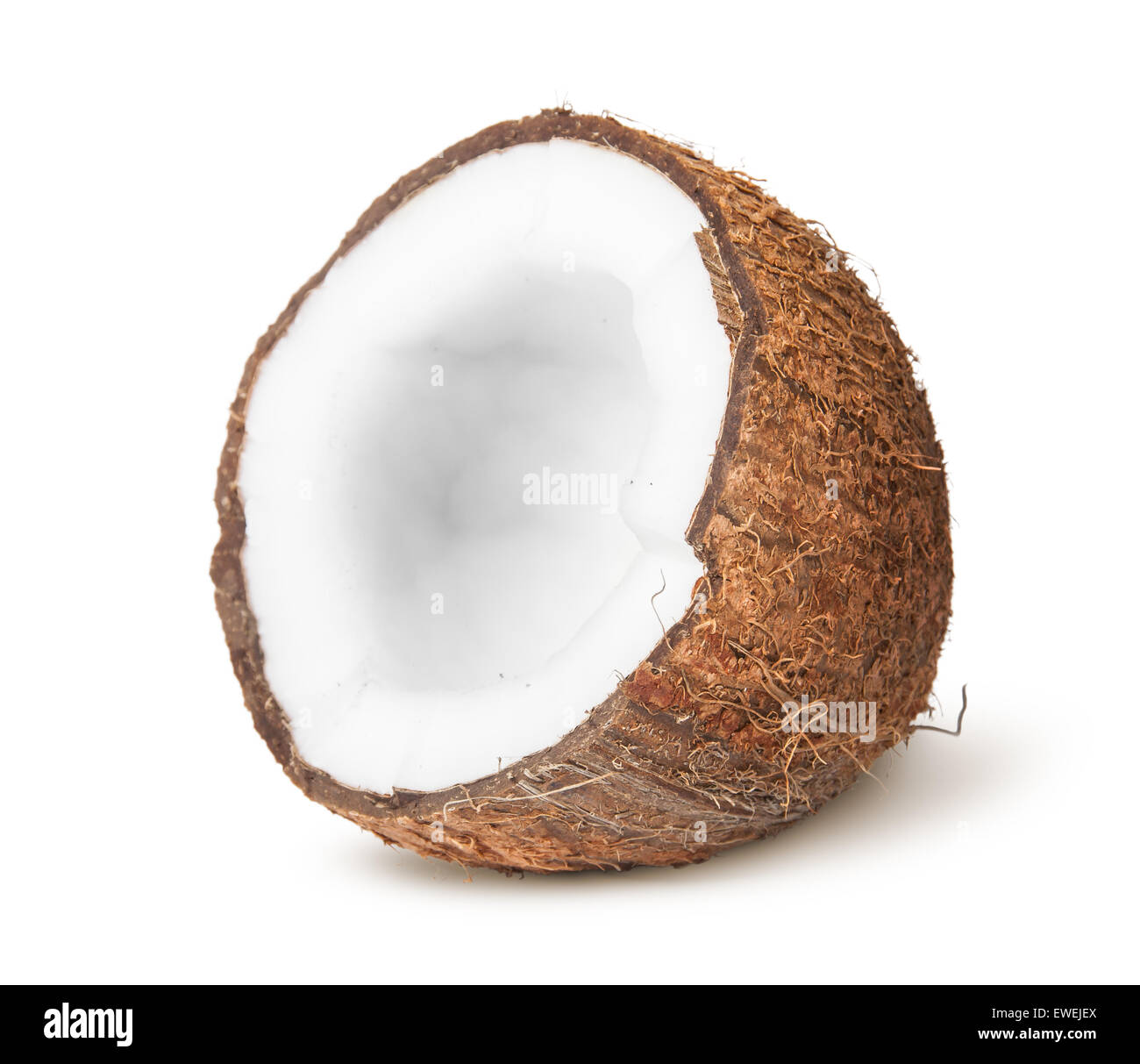 Half of coconut isolated on white background - Stock Image