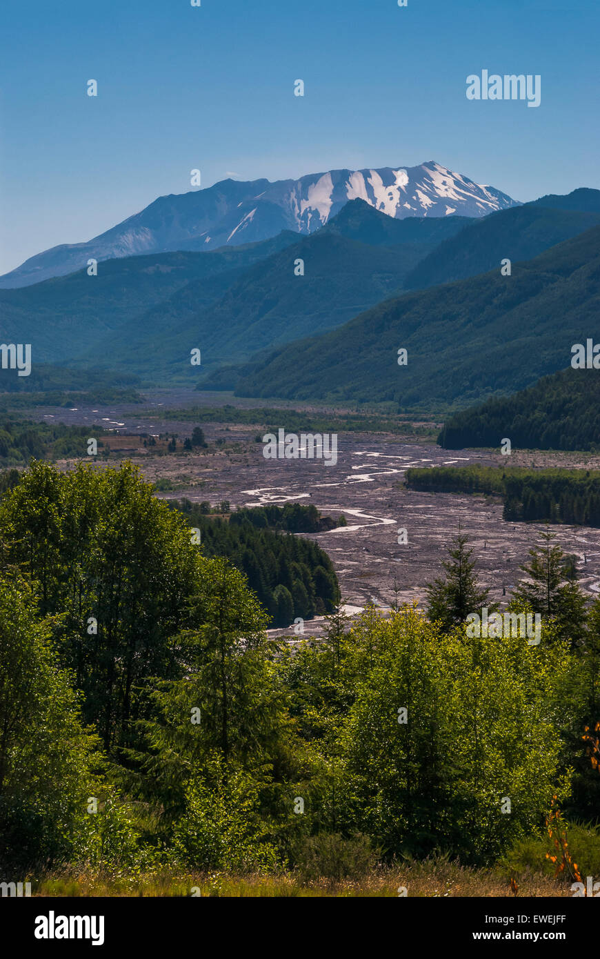 View of Mt. St. Helens with devastation caused by eruption in 1980 in middle of image. - Stock Image