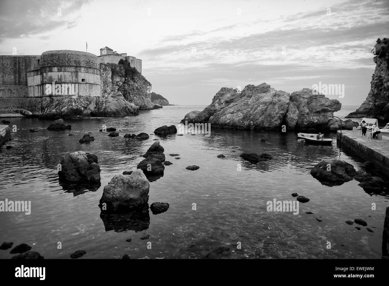 Dramatic Mediterranean coastline on the Adriatic shore of Dubrovnik Croatia - Stock Image