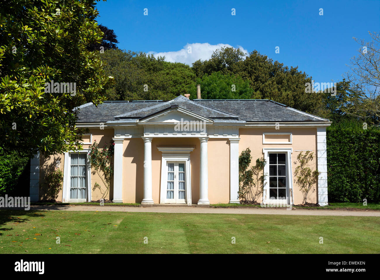 The summerhouse at Mount Edgcumbe in Cornwall, England, UK - Stock Image