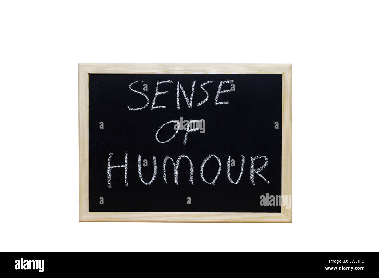 SENSE OF HUMOUR written with white chalk on blackboard. - Stock Image