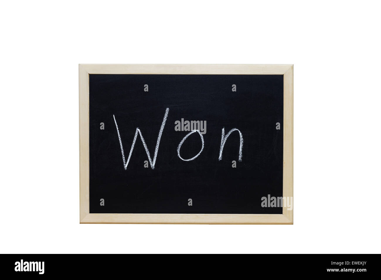 Won written with white chalk on blackboard. - Stock Image