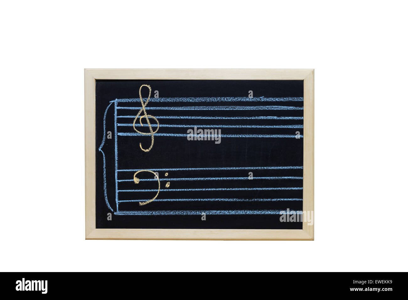 music staff in key c written on blackboard - Stock Image