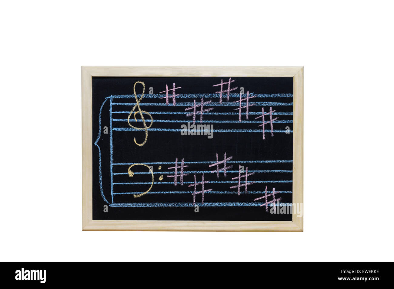 music staff in key B written on blackboard - Stock Image