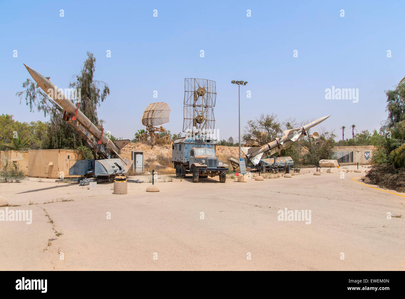 Hatzerim, Israel -  April 27, 2015: Old russian antiaircraft defense rocket launcher missiles at the museum of the - Stock Image