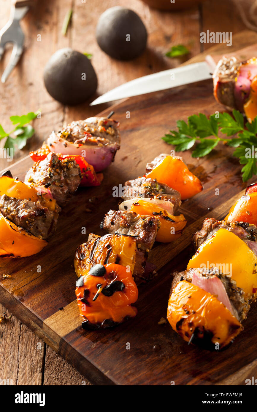 Homemade Grilled Steak and Veggie Shish Kebabs on a Skewer Stock Photo