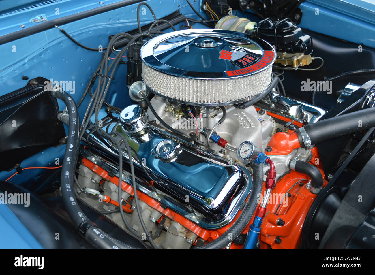 A 396 Big Block engine in a Chevrolet Chevelle.