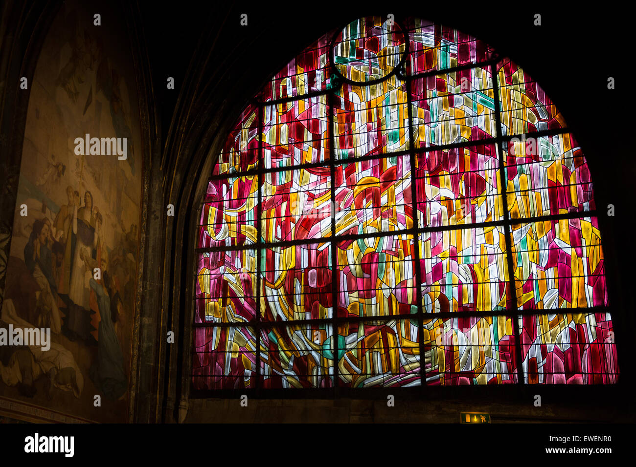 One of a series of stain glass windows in Saint-Severin designed  by Jean Rene Bazaine. Stock Photo