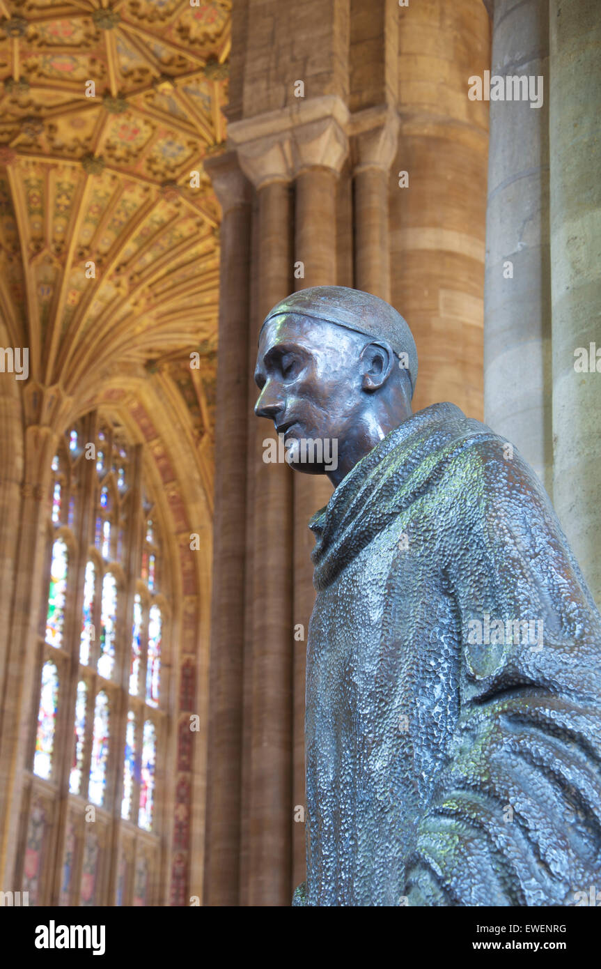 Bronze statue of St Aldhelm by Marzia Colonna, situated beneath the glorious fan vaulted ceiling of Sherborne Abbey. - Stock Image