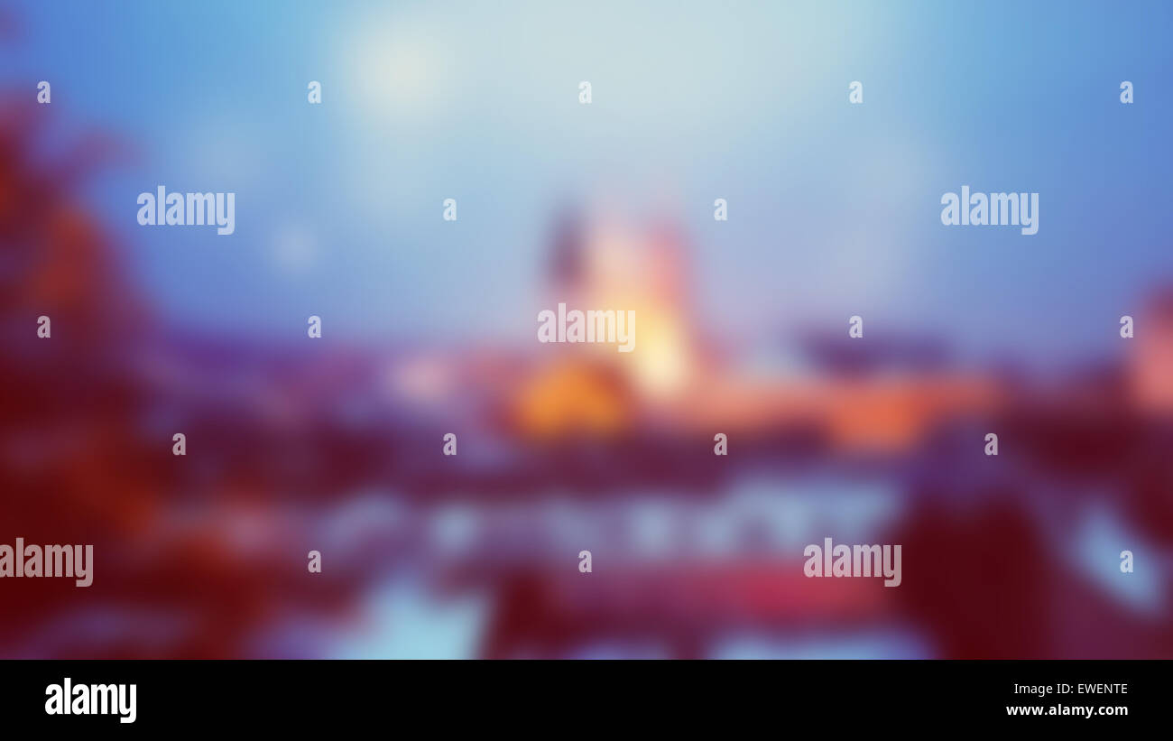 Blurred background with Zagreb Cathedral - Stock Image