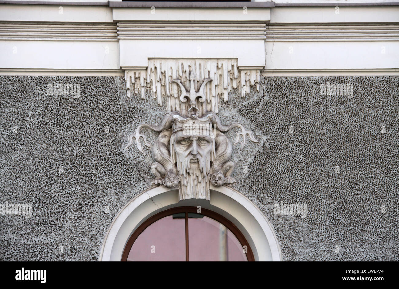 Eclectically-Decorative Art Nouveau style apartment building at Gertrudes Iela in Riga - Stock Image
