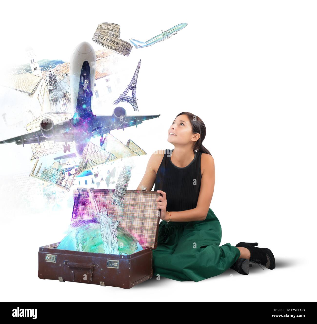 Suitcase full of memories Stock Photo