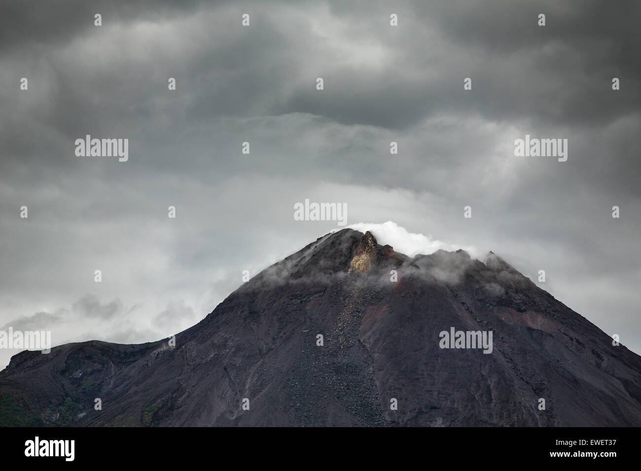 Mountain Merapi volcano, Java, Indonesia. Dramatic photo - Stock Image