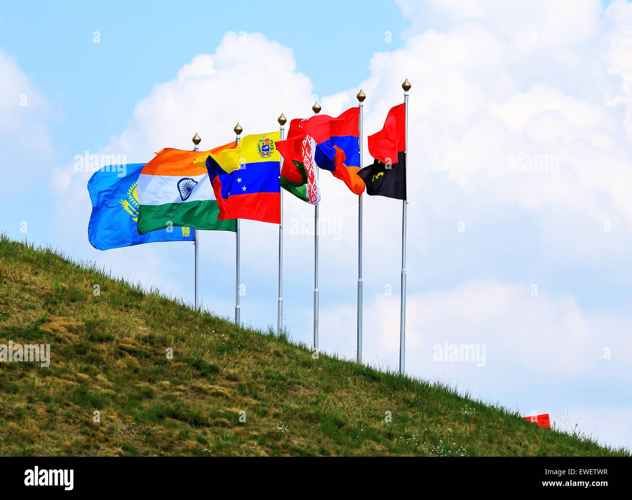 Flags of the countries participating in the tank biathlon 2014 in Russia - Angola, Armenia, Belarus, Venezuela, - Stock Image