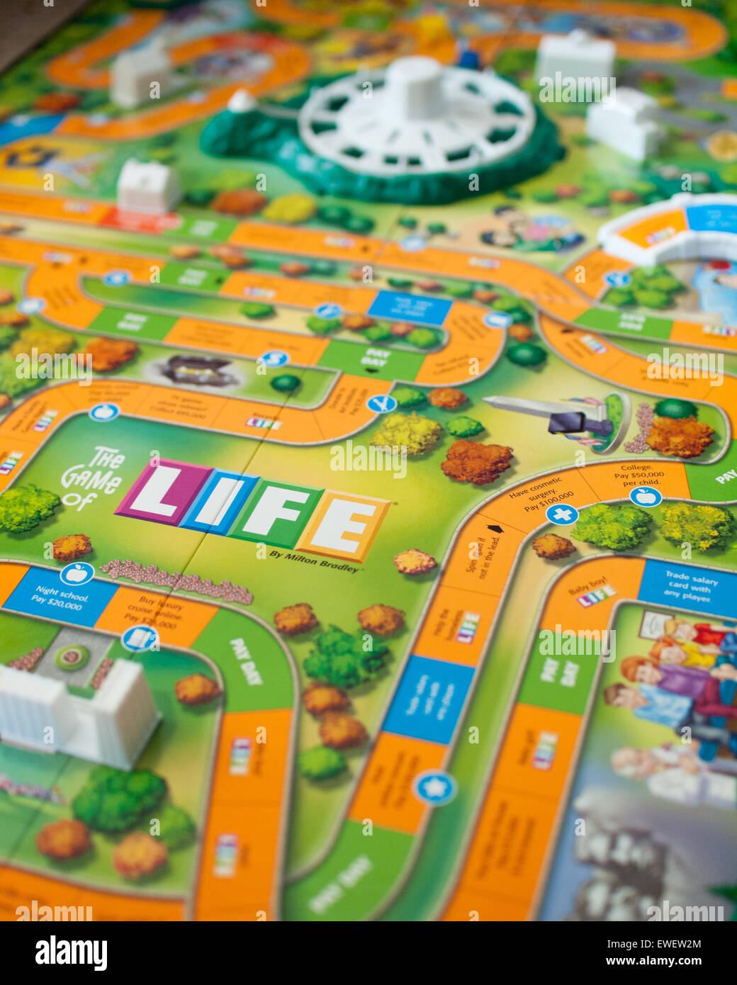 A view of The Game of Life (also known as LIFE), a board game originally created in 1860 by MIlton Bradley. - Stock Image