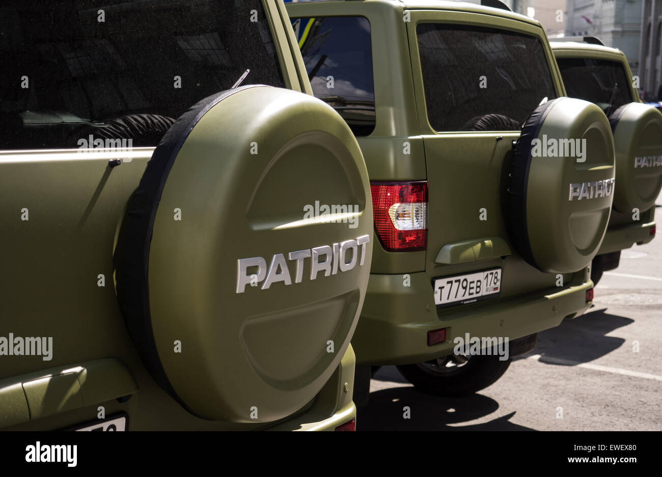Moscow, Russia. 14th June, 2015. June 14, 2015: A number of off-road military vehicles of Russian brands ''Patriot'' Stock Photo