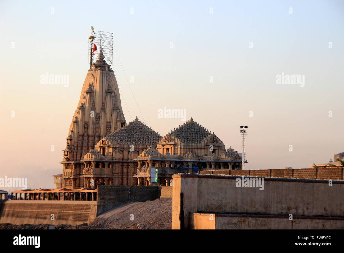 SomanathTemple -one of 12 Jyotirlingas in India- at Somanathapur in Gujarath, India, Asia - Stock Image
