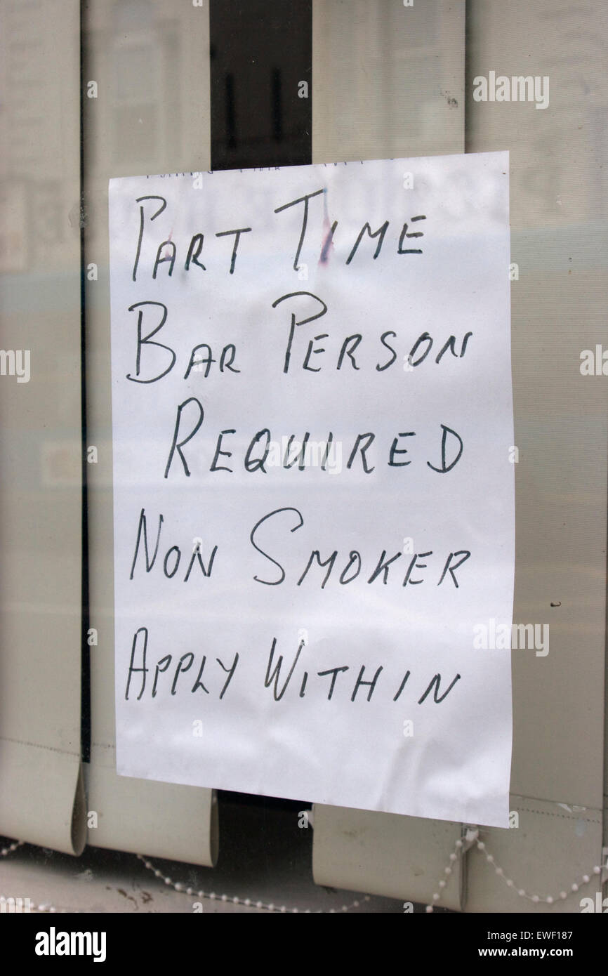 Part Time Bar Person Required Non Smoker Apply Within Job Stock