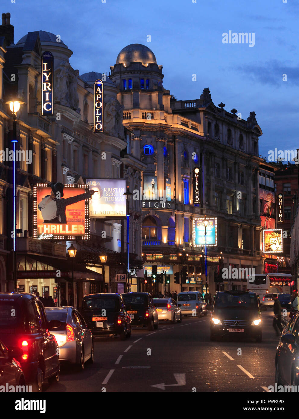 Shaftesbury Avenue Theatres in London West End. - Stock Image