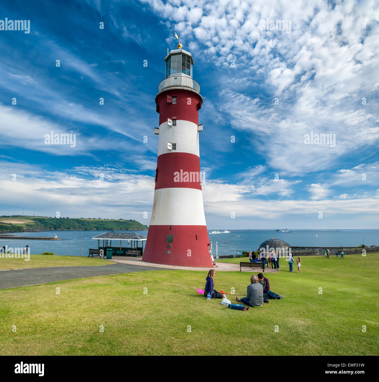 Smeatons Tower Lighthouse on the seafront at Plymouth Hoe on the south coast of Devon, England. - Stock Image